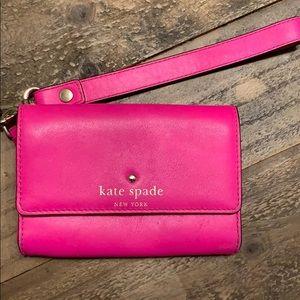 Kate spade small pink wristlet wallet